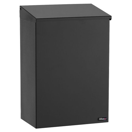 Mailbox Blk Wall (Qualarc Allux 100 Wall or Post Mount Top Load Galvanized Steel Mailbox in Black)