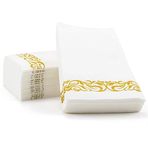 100 PACK Guest Towels Disposable Bathroom, Decorative Bathroom Napkins,Soft and Absorbent Disposable Dinner Napkins…