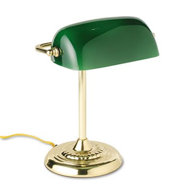 Traditional Incandescent Banker's Lamp, Green Glass Shade,