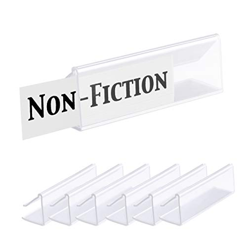Pack of 25  Clear Butyrate Plastic Shelf Label Holder, Wood Shelf Sign and Ticket Holder, Clips On to Shelves 5/8