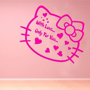 Iconic Stickers   Hello Kitty Love Kids Quote Wall Sticker Art Decoration  Bedroom Girls Home L23