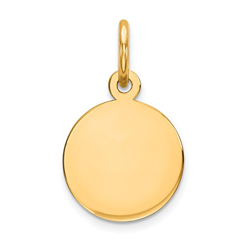 Engravable Round Disc Charm - 14k Yellow Gold Plain .009 Gauge Circular Engravable Disc Charm (10 x 17 mm)