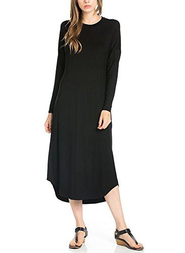 12 Ami Long Sleeve Basic Pocket Midi Dress (S-XXL) - Made in USA