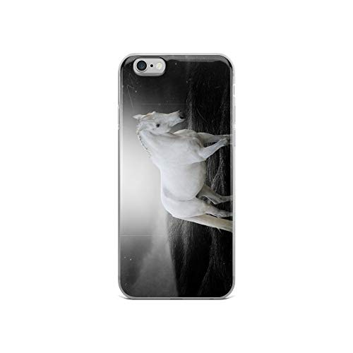 (iPhone 6/6s Case Anti-Scratch Creature Animal Transparent Cases Cover The White Horse Animals Fauna Crystal)