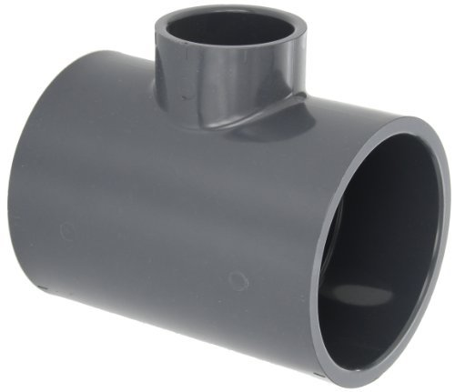 GF Piping Systems PVC Pipe Fitting, Reducing Tee, Schedule 80, Gray, 4 x 4 x 2 Slip Socket by GF Piping Systems
