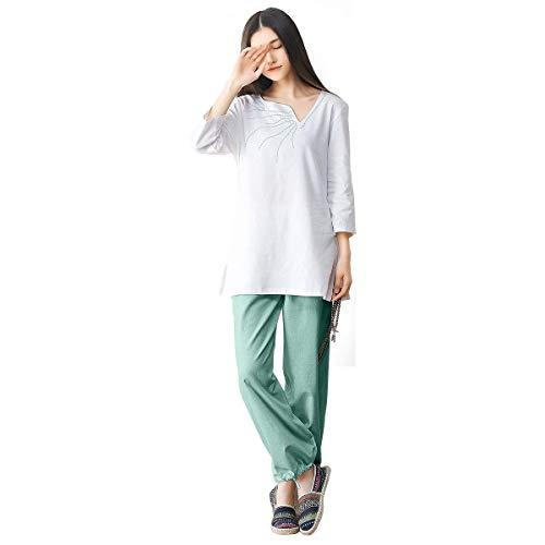 KSUA Womens Zen Meditation Uniform Tai Chi Suit Chinese Kung Fu Clothing Cotton Yoga Clothes, Green US M/Tag - Kung Fu Pants Chinese Clothes