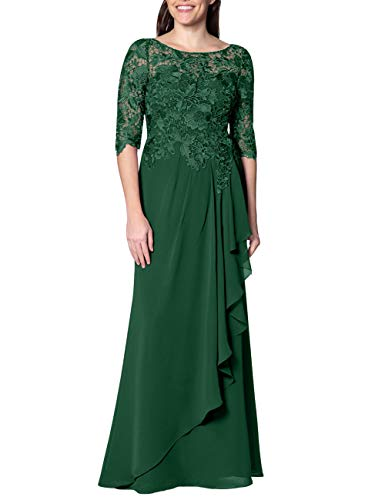 - EDressy Chiffon Mother of The Bride Dresses Long Evening Formal Gowns Flora Lace Prom Party Dress Half Sleeves Dark Green US2