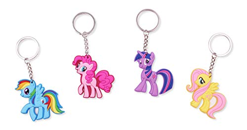 Finex Set of 4 My Little Pony Keychain for Backpack School Bag Handbag Tote Random Rainbow Dash Pinkie Pie Twilight Sparkle (Multi Colored Pony)