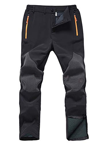 Gash Hao Mens Snow Ski Waterproof Softshell Pants Outdoor Hiking Fleece Lined Zipper Bottom Leg (Black, 32x32)