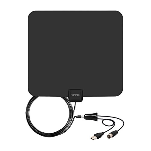 Amplified HDTV Antenna- VIEWTEK Digital Indoor TV Antenna, 50 Mile Range with Detachable Amplifier, 13 Ft Copper Coaxial Cable and USB Power Supply (Digital Hdtv Antenna Indoor)