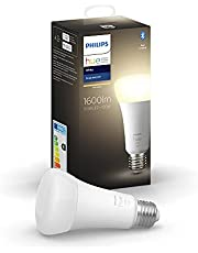 Philips Hue White Single Smart Bulb LED [E27 Edison Screw] 100 W with Bluetooth, Compatible with Alexa, Google Assistant and Apple HomeKit
