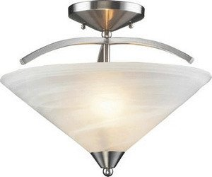 Elk 7633/2 2-Light Semi Flush In Satin Nickel and Marbleized White Glass (Elysburg 2 Light)