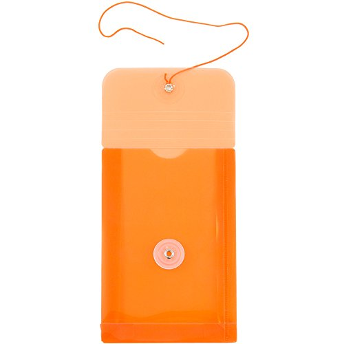 JAM PAPER Plastic Envelopes with Button & String Tie Closure - 4 1/4 x 6 1/4 - Orange - 12/Pack by JAM Paper (Image #4)