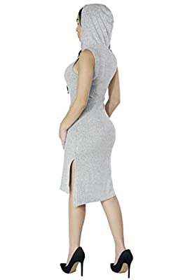 Women Stretchy Soft Light Weight Athletic Lounge Hoodie Drawstring Dress