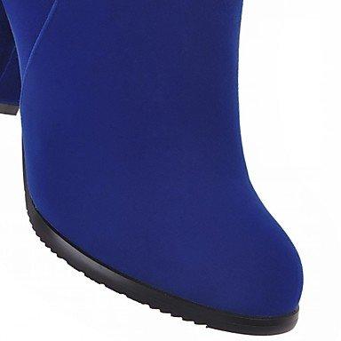 Heart&M Damen Stiefel Komfort Neuheit Stiefeletten Herbst Winter Kunstleder Normal Reißverschluss Blockabsatz Schwarz Rot Blau 5 - 7 cm red