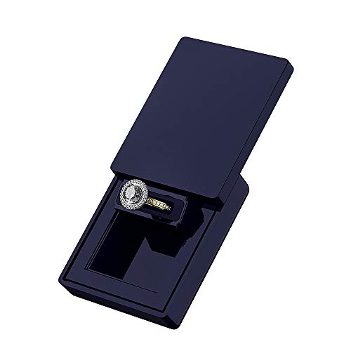 MONOLIX Slim Engagement Ring Box, Thin Unique Sliding Lid, Elegant Discreet Secret Surprise Marriage Wedding Proposal Case (Navy, - Ring Cushion Diamond Accent