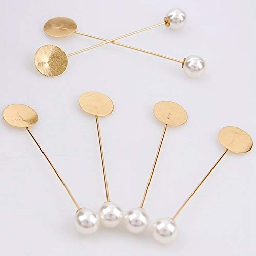 Laliva Factory Luxury Gold & Silver Plated Simulated Pearl Alloy Copper Long Brooch Pin DIY Lapel Dress Jewelry Brooches Accessories - (Color: Gold) ()