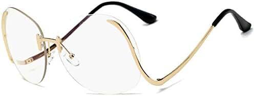 Eyerno Vintage Rimless Oversized Women Clear Lens Sunglasses Retro Eye Glasses