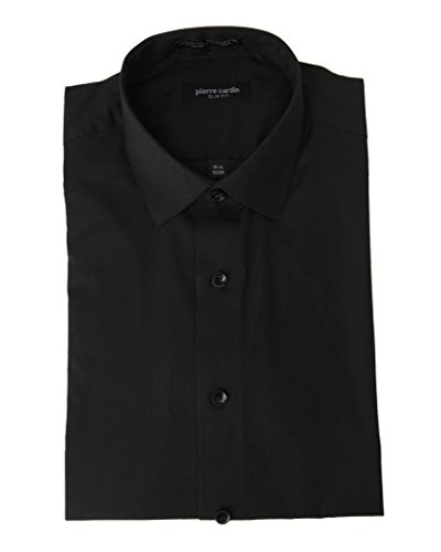 Pierre+Cardin+1796+Slim+Fit+Long+Sleeve+Dress+Shirt+-+Black+-+15.5+2-3