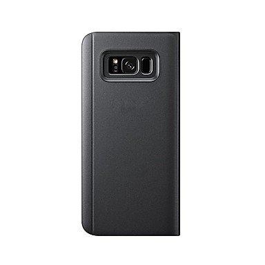 Casos hermosos, cubiertas, Funda Para Samsung Galaxy S8 Plus S8 con Soporte Espejo Flip Activación al abrir/Reposo al cerrar Cuerpo Entero Color sólido Dura ( Color : Negro , Modelos Compatibles : Gal Negro