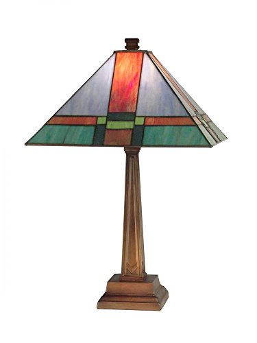 Dale Tiffany TT11047 Tranquility Mission Table Lamp, Antique Brass ()