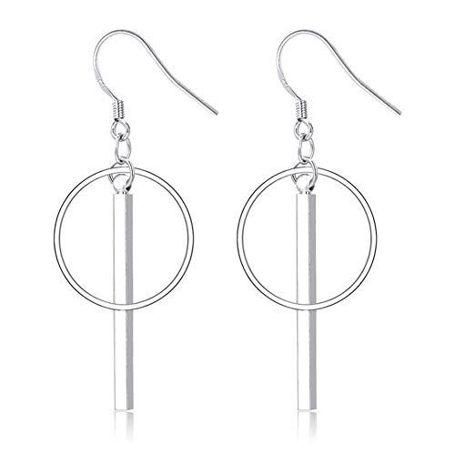 JczR.Y Dainty Bar Hoop Earrings Hook Geometric Hollow Round Circle Stick Dangle Earrings for Women Girls(E:Circle/Hook)