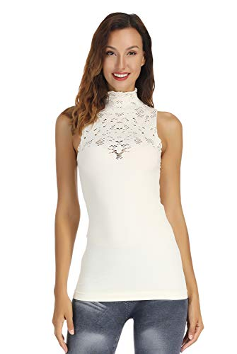 (DISBEST Women's Tank Tops, Lace Hollow High Neck Sleeveless Stretch Casual Sweater T-Shirt,Cream White,S/US 4)