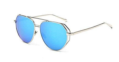 Glacier en style cercle métallique lunettes polarisées Lennon retro de Bleu soleil du inspirées rond vintage xwzX6Tq