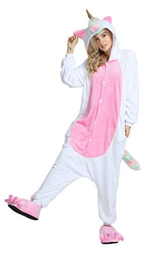 Homme Unisex Adult Onesies Pajamas Sleepwear, Christmas Party Cosplay Onepiece Costumes,Pink Unicorn
