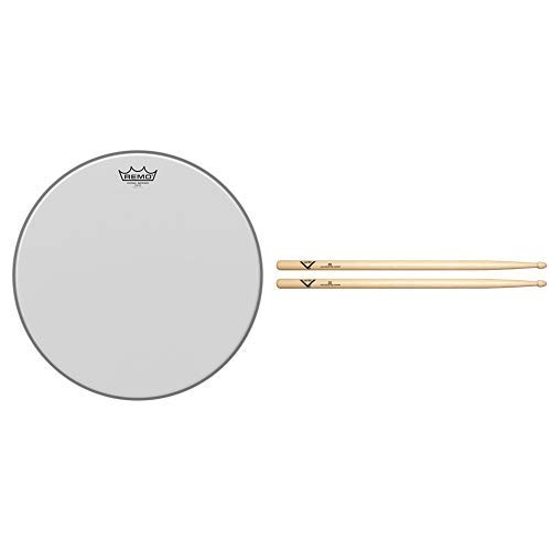 Remo VE0116-00 Vintage Emperor Coated Drum Head (16-Inch) with Vater 5B Wood Tip Hickory Drum Sticks, Pair