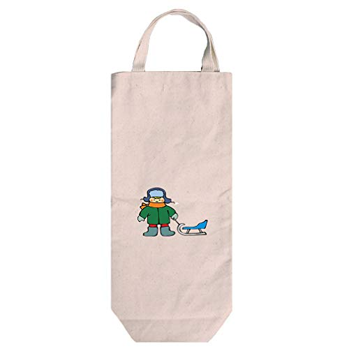 Pro Sledge Handle (Boy With Sledge Cotton Canvas Wine Bag Tote With Handles Wine Bag Natural)