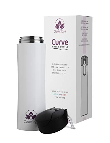 Clever Yoga Stainless Steel Double Wall Vacuum Insulated Water Bottle Leak and Sweat Proof Keep Drinks Hot Cold for Gym Office Sports Hiking Travel 15oz (White)