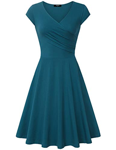 Mid Lenght Dresses Women, A- Line Cap Sleeve V Neck, Perfect Women Date Night Dresses