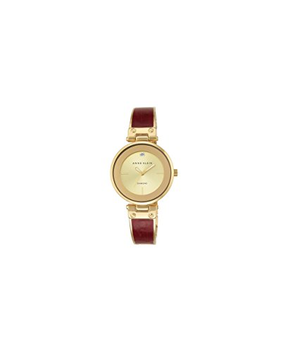 Anne Klein Women's AK/2512BYGB Diamond-Accented Gold-Tone and Burgundy Marbleized Bangle Watch