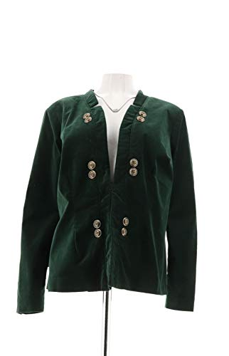 (Du Jour Stretch Velvet Blazer Front Button Dark Pine Green 16 New A300212)