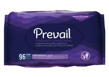 Prevail Premium Disposable Washcloths, Large Refill, 12 x 8 Inch, WW-902 (Case of 576) (Wipe Refill Case)