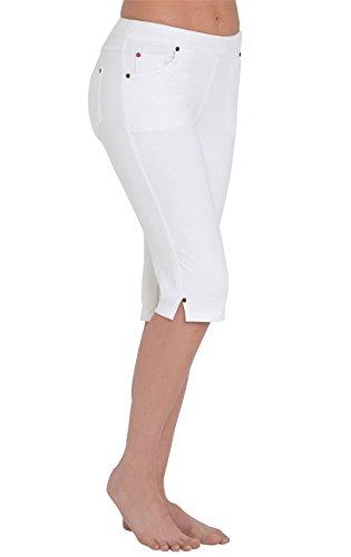 (PajamaJeans Women's Soft Knee-Length Stretch Denim Shorts, White, 3X / 24-26W)