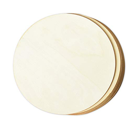 Wood Circles for Crafts, 8-Count Unfinished Wooden Round Disc Cutouts, 12 Inches in Diameter (Circle Wood Craft)