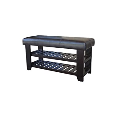 Wooden Shoe Bench with Dark Brown Faux Leather Seat