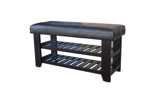 Wooden Shoe Bench with Dark Brown Faux Leather Seat (Storage Bench Wooden Natural All)