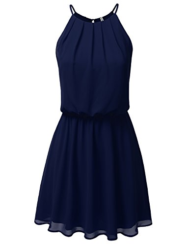 Layered Chiffon (JJ Perfection Women's Sleeveless Double-Layered Pleated Mini Chiffon Dress Navy L)