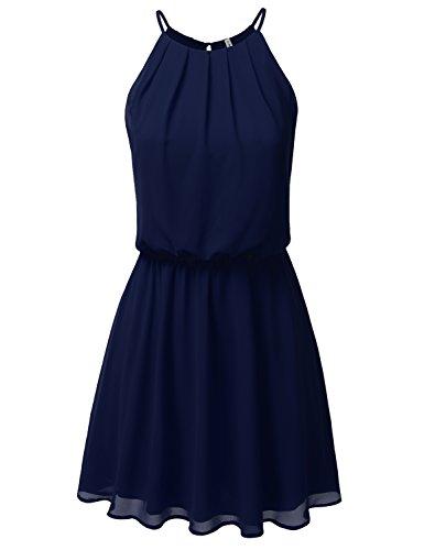JJ Perfection Women's Sleeveless Double-Layered Pleated Mini Chiffon Dress Navy XL