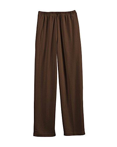 UltraSofts Elastic-Waist Interlock Pull-On Pants, Brown, Petite Large