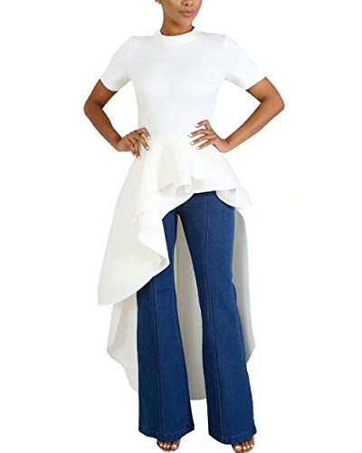 ThusFar Women Ruffle Dip Hem High Low Asymmetrical Irregular Mock Neck Short Sleeve Bodycon Tunic Tops Blouse Shirt Dress White M