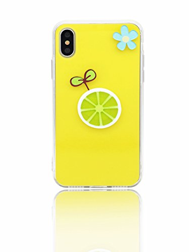 - Sweetchoco iPhone x Case,Full Covered Design, Soft TPU Frame and Solid Acrylic Back Materials with Anti-Fingerprint Shockproof Protection with 1 pack HD Tempered Glass Screen Protector(Yellow lemon)