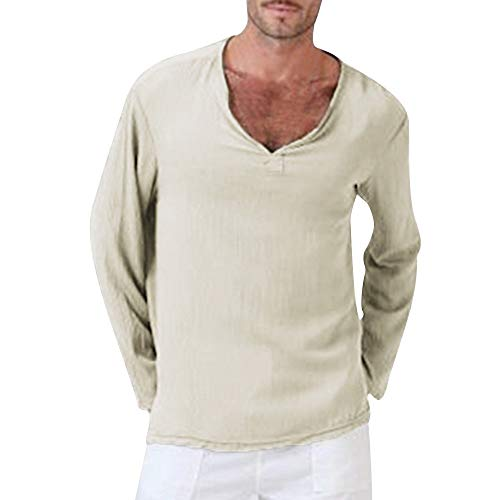 (POQOQ Henley T-Shirts Mens Long Sleeve Double Layered V-Neck Fashion Button Placket Lightweight Burnout Thermal and Heather XS Khaki)