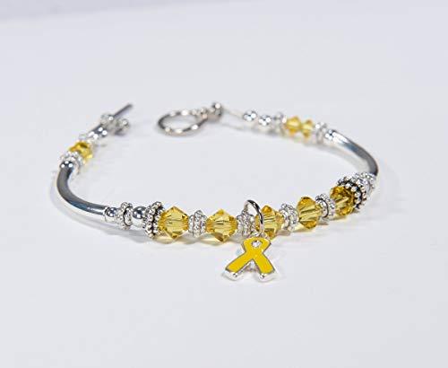 (Yellow Ribbon Awareness Charm Bracelet: Sarcoma/Bone Cancer, Soldier support, Spina Bifida, Missing Children, Bladder Cancer. Get well. #01)