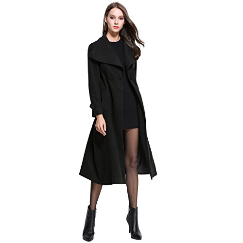 Long Black Wool Coat - 6