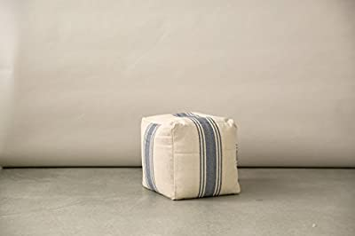 Creative Co-op Cream Pouf with Blue Stripes