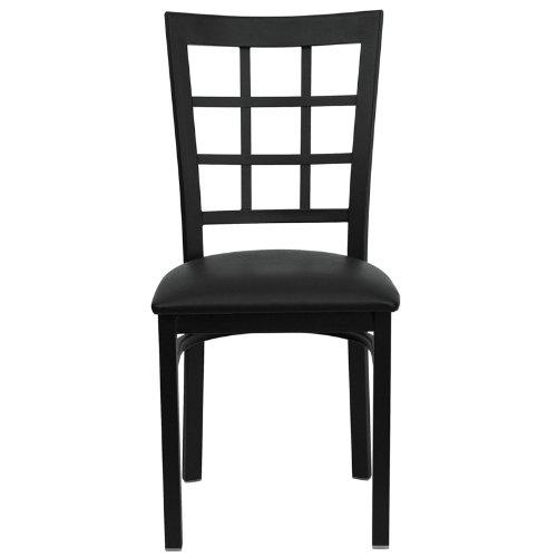 Flash Furniture HERCULES Series Black Window Back Metal Restaurant Chair - Black Vinyl Seat by Flash Furniture (Image #3)